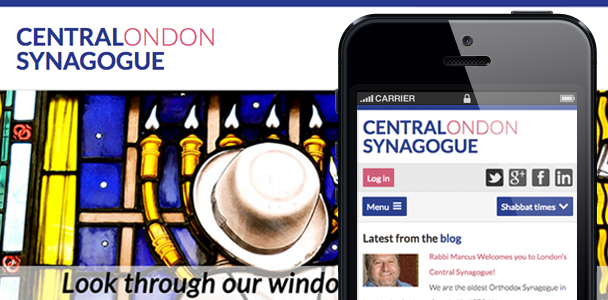 Screen shot of the new central synagogue website on iphone